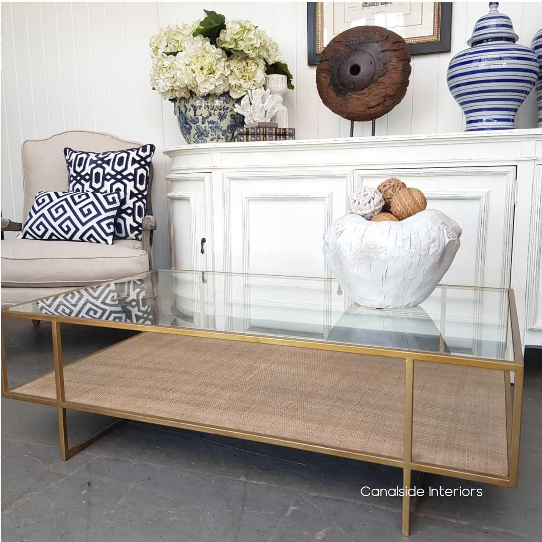 wickford glass rattan coffee table in stock