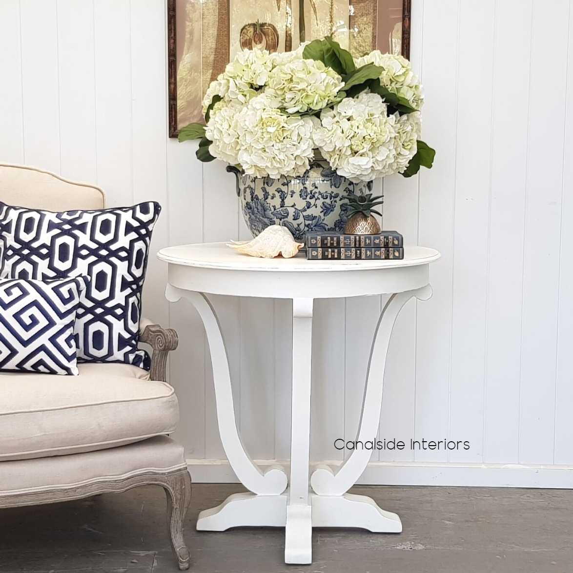 downton round hall table side table distressed white in stock