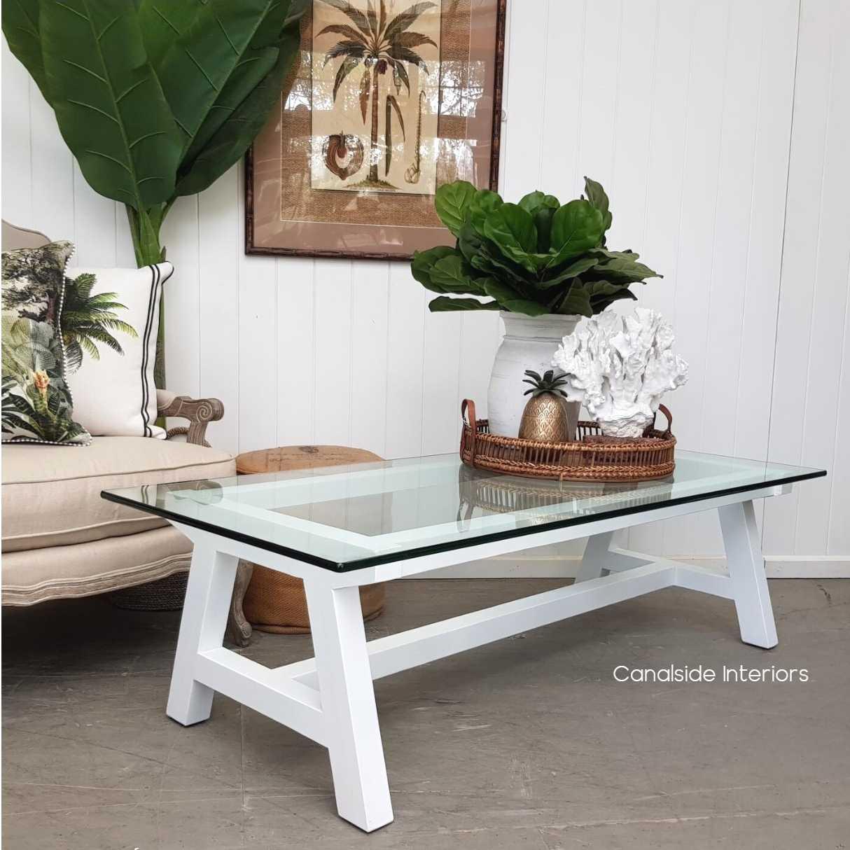 avon hamptons coffee table white in stock