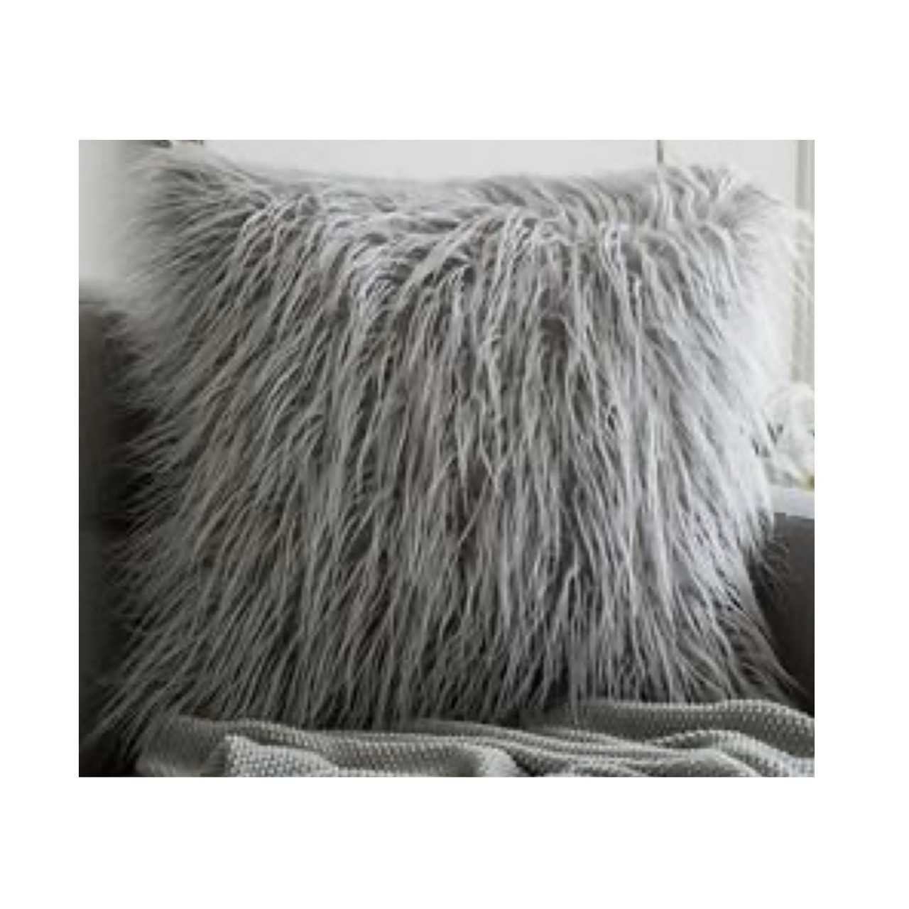 17 x17 gray faux fur throw pillow case