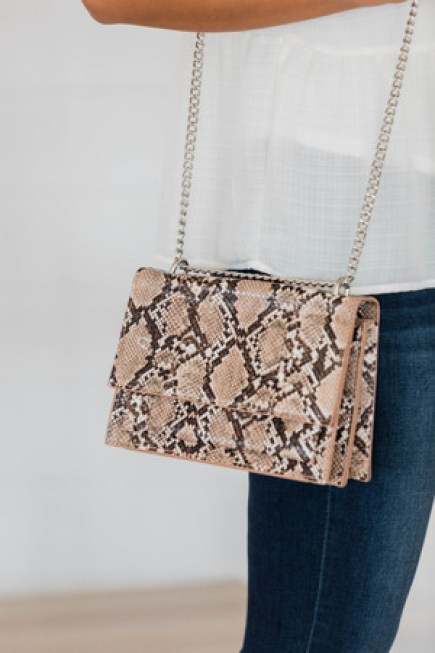 Back Where You Belong Brown Snakeskin Print Purse