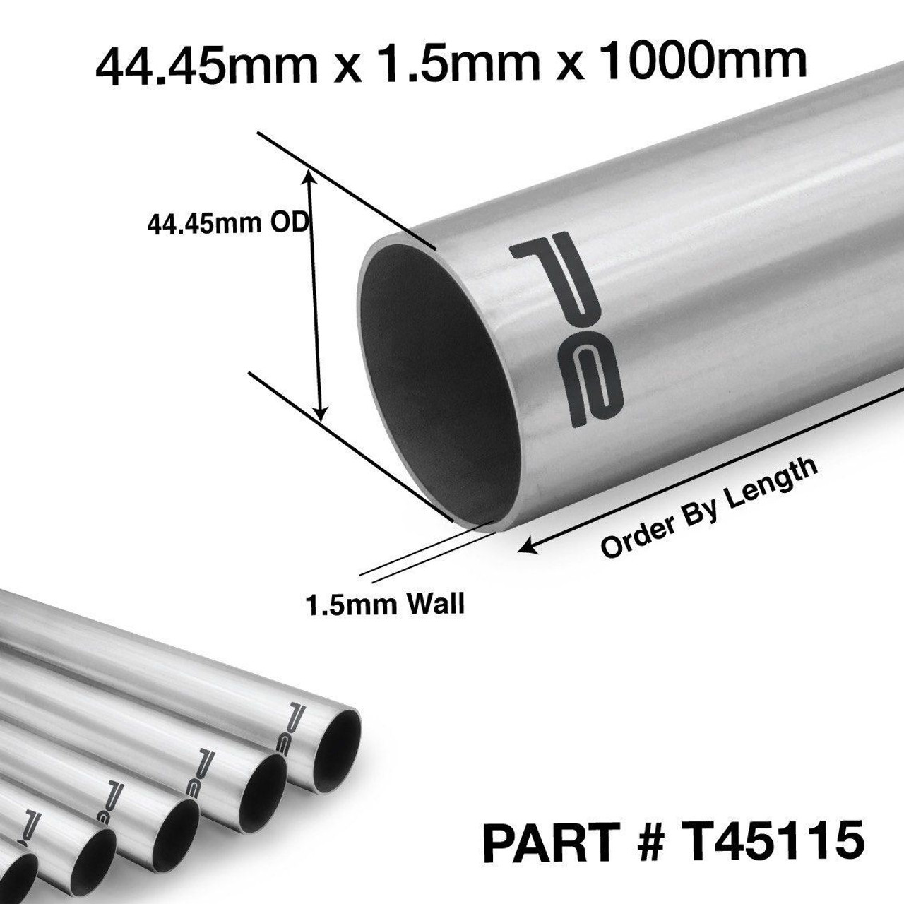 44 45mm od x 1000mm x 1 5mm 304 stainless steel length exhaust pipe tube t45115