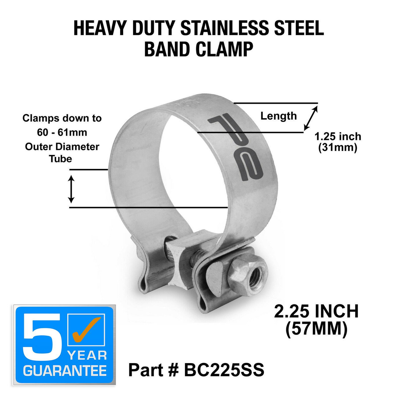 2 25 inch 57mm stainless steel band clamp heavy duty exhaust band bc225ss