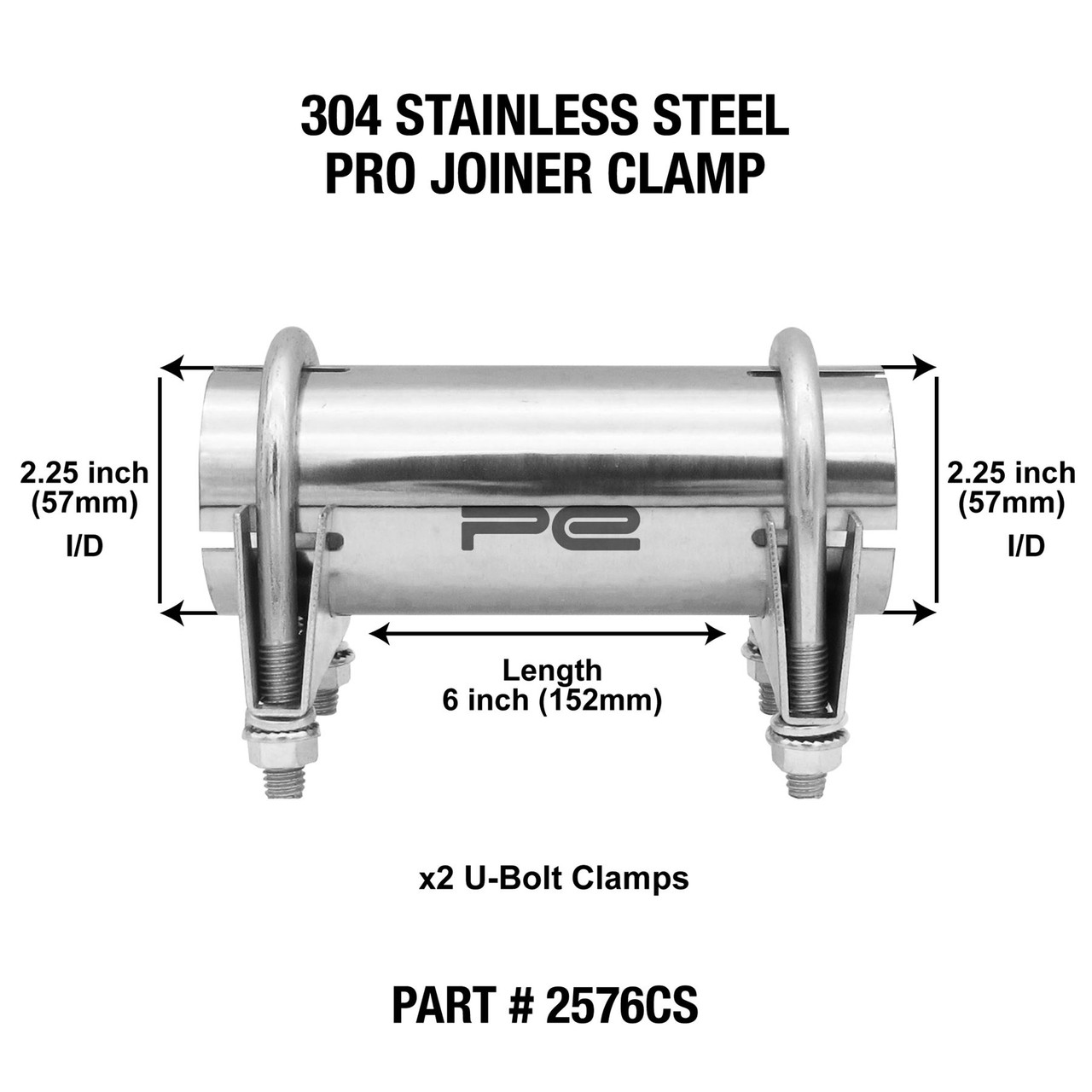 2 25 57mm 304 stainless steel clamp exhaust pipe joiner connector sleeve repair