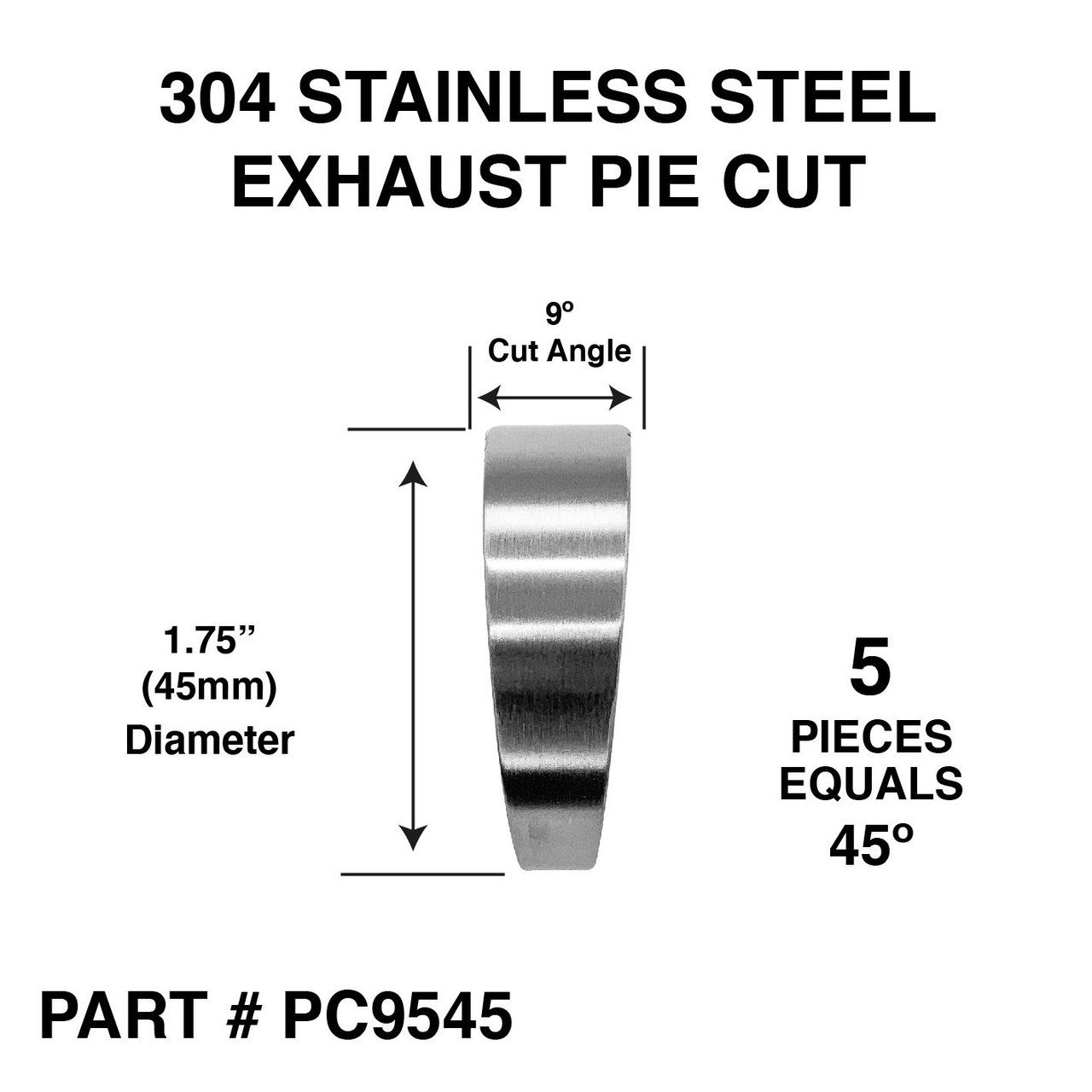 1 75 45mm pie cut 45 degree 304 stainless steel exhaust elbow bend