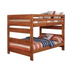 Rustic Pine Full Size Bunk Bed With Storage Stairway