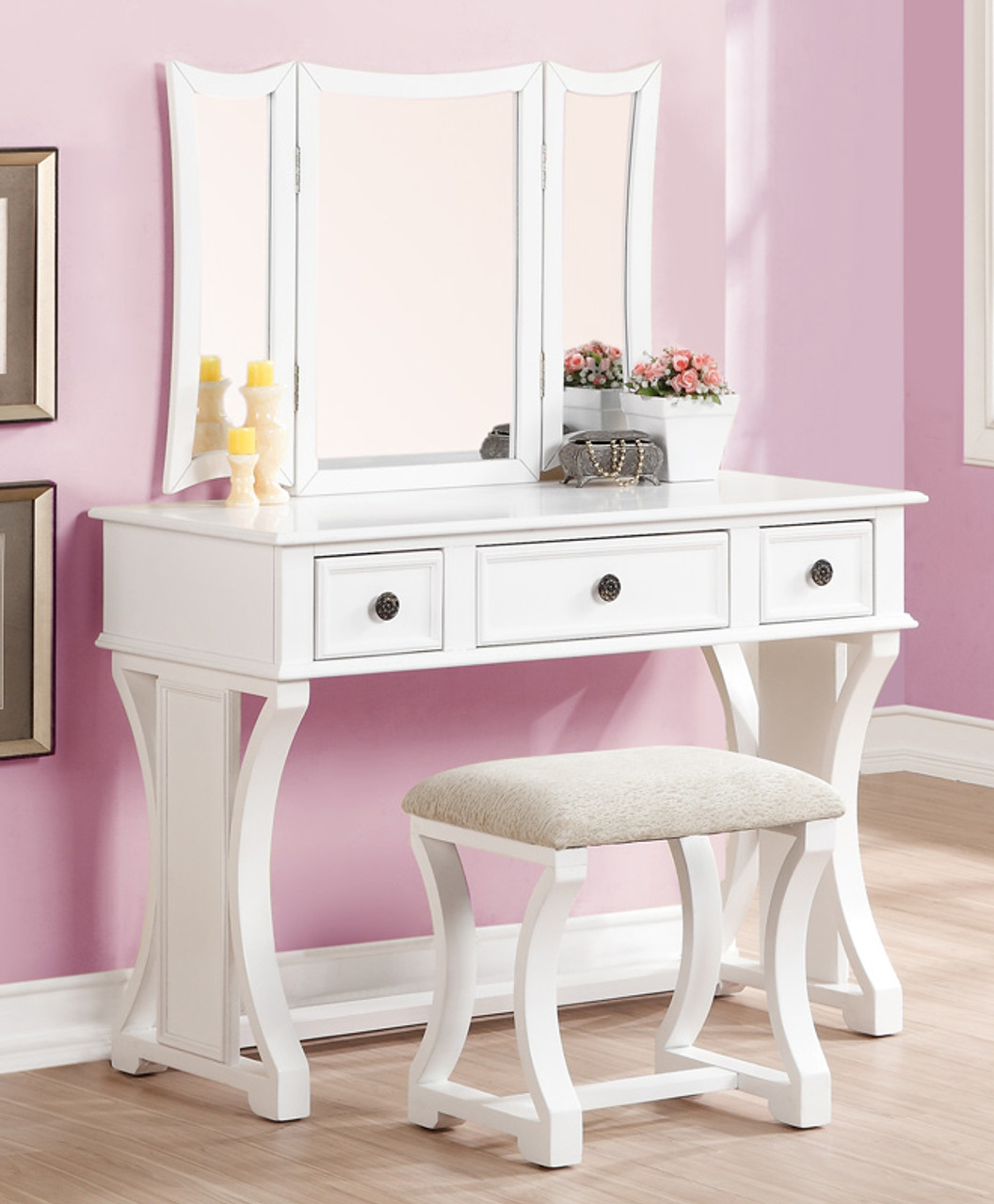 dulce makeup desk with bench and mirror