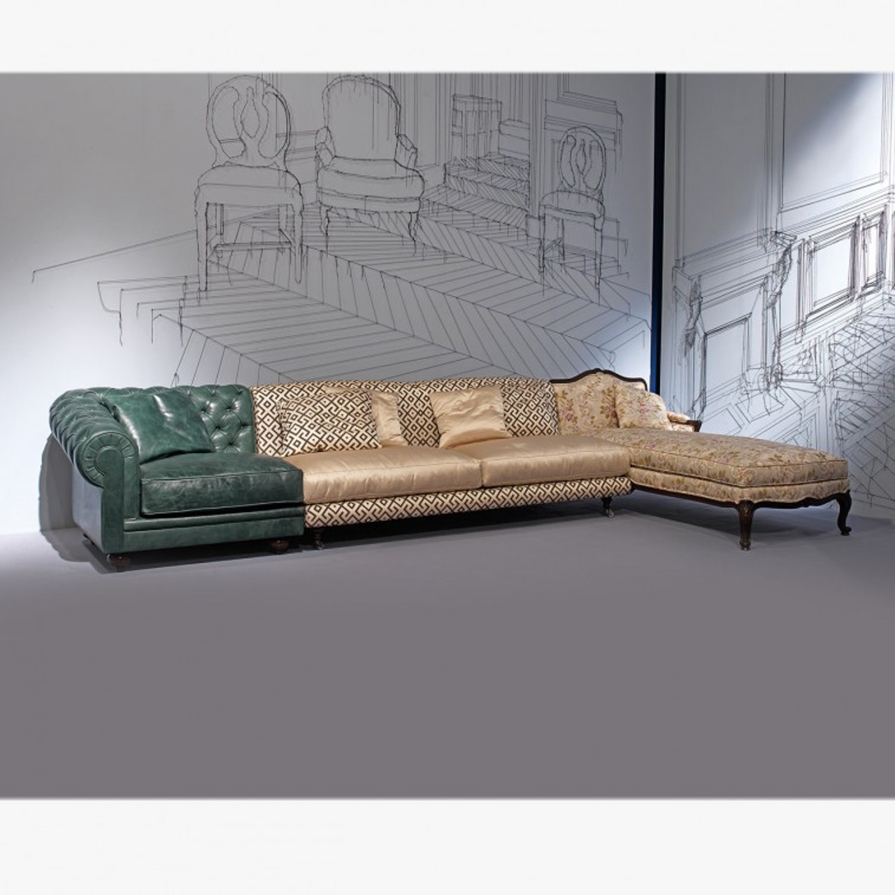 chesterfield sectional sofa with chaise green and peach multi