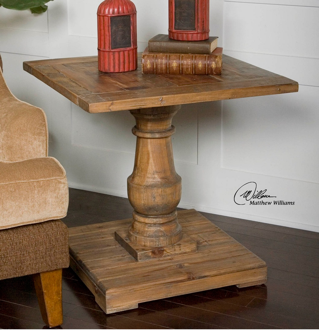 salvaged wood rustic side table