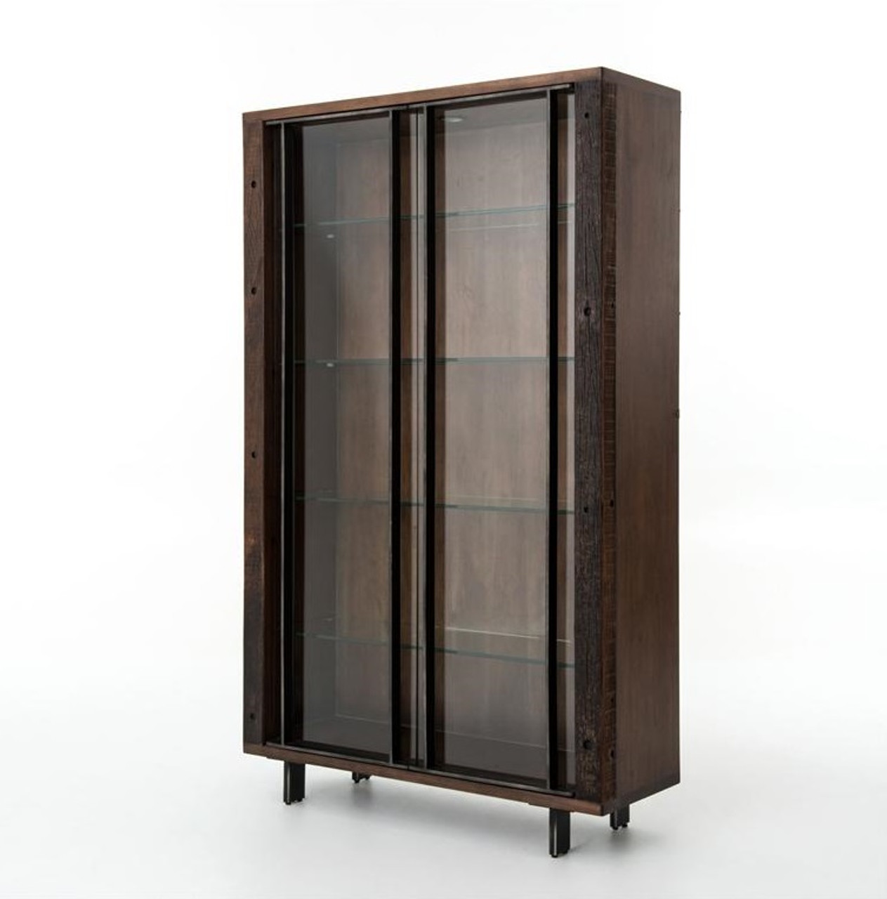 Geoff Reclaimed Wood Cabinet With Glass Doors