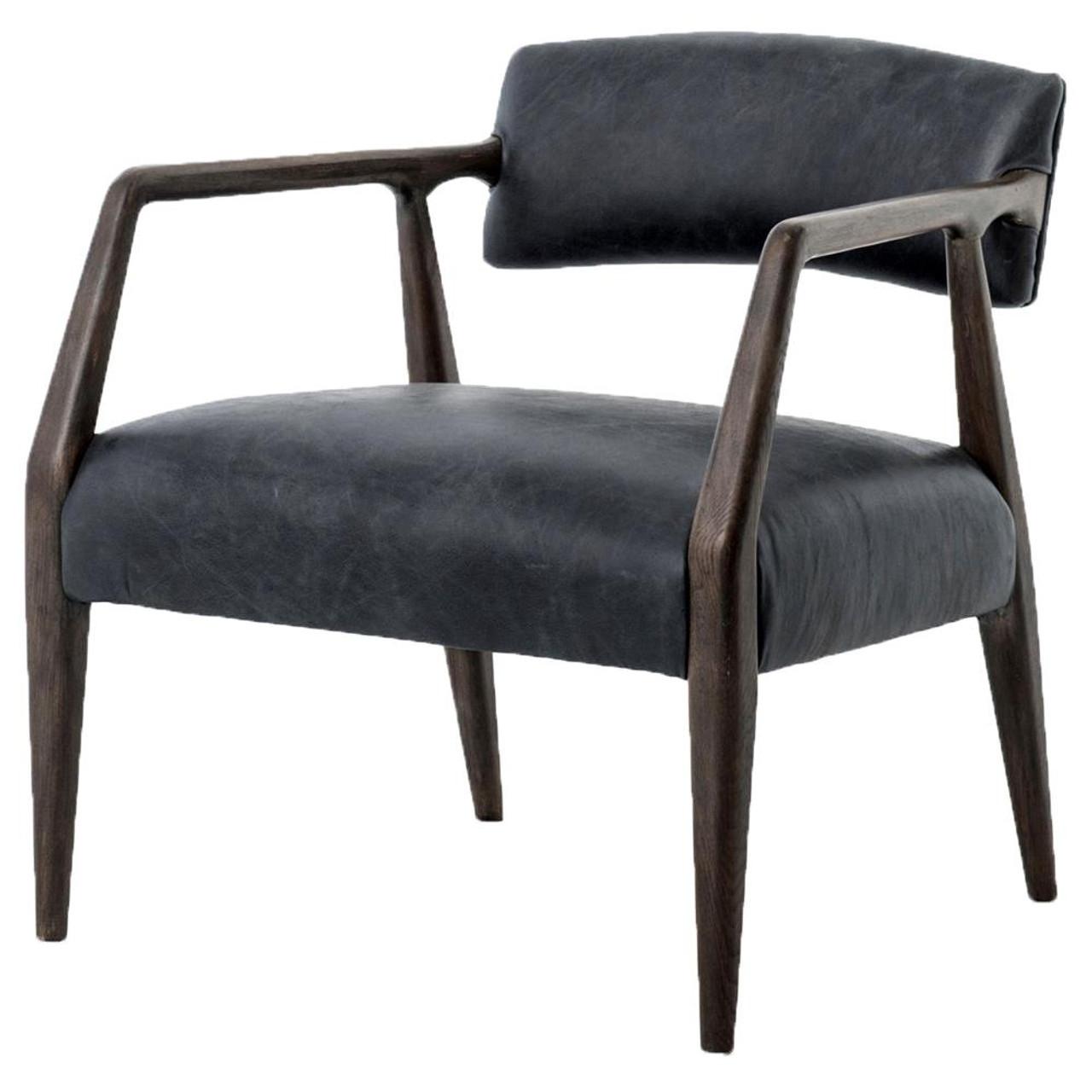 Tyler Mid Century Modern Dark Oak Ebony Leather Arm Chair Zin Home