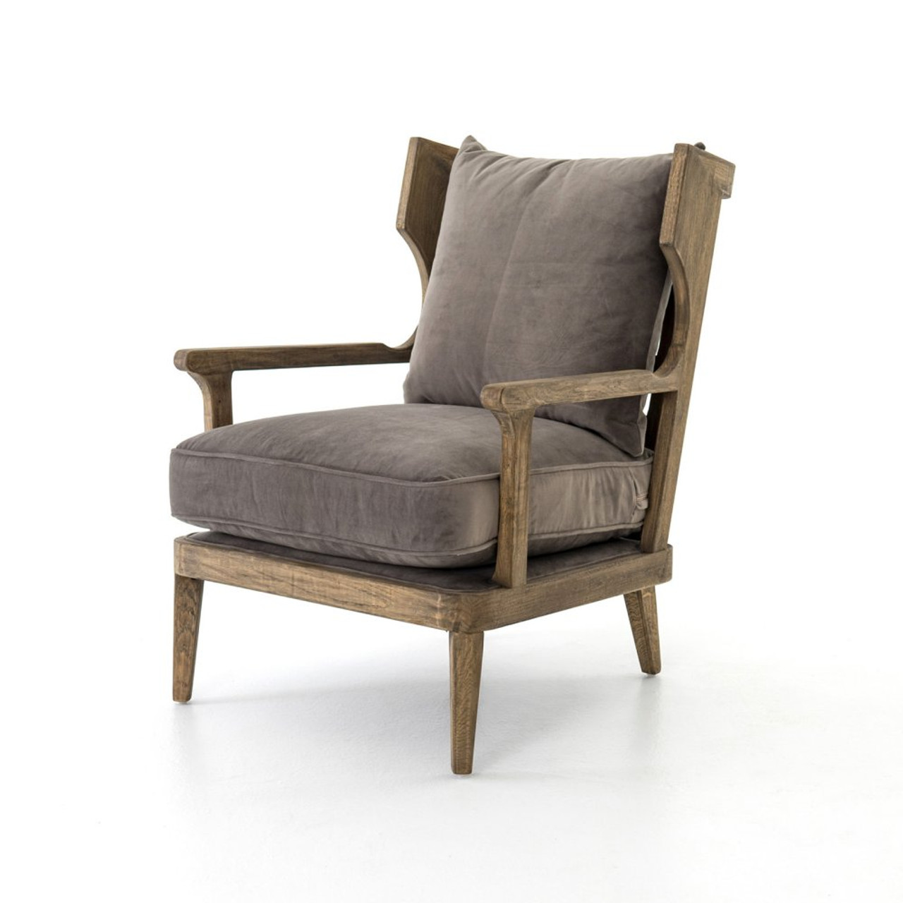Lennon Exposed Oak Gray Velvet Wingback Chair Zin Home