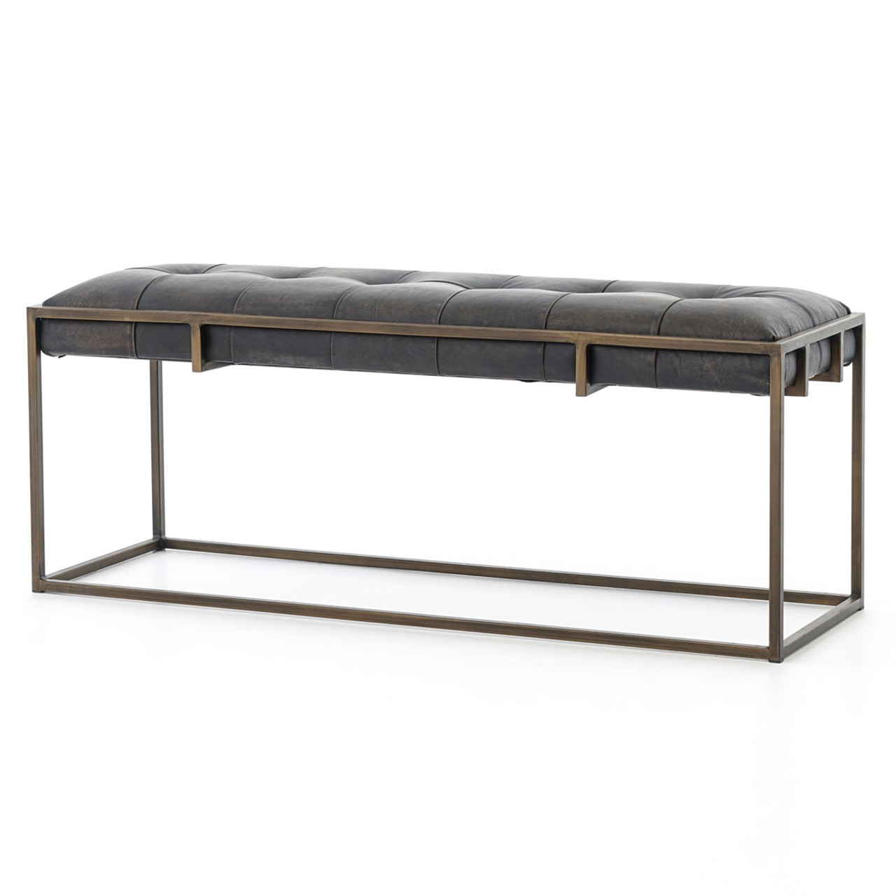 oxford tufted vintage black leather bench 43