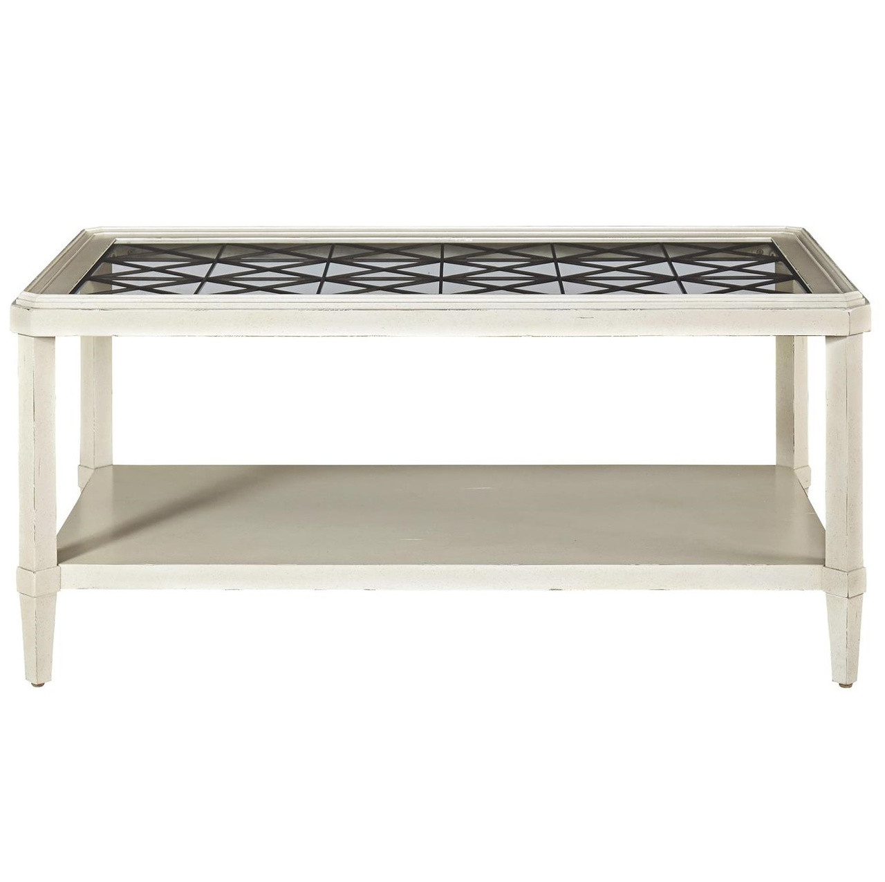 sojourn french country glass top cocktail table white