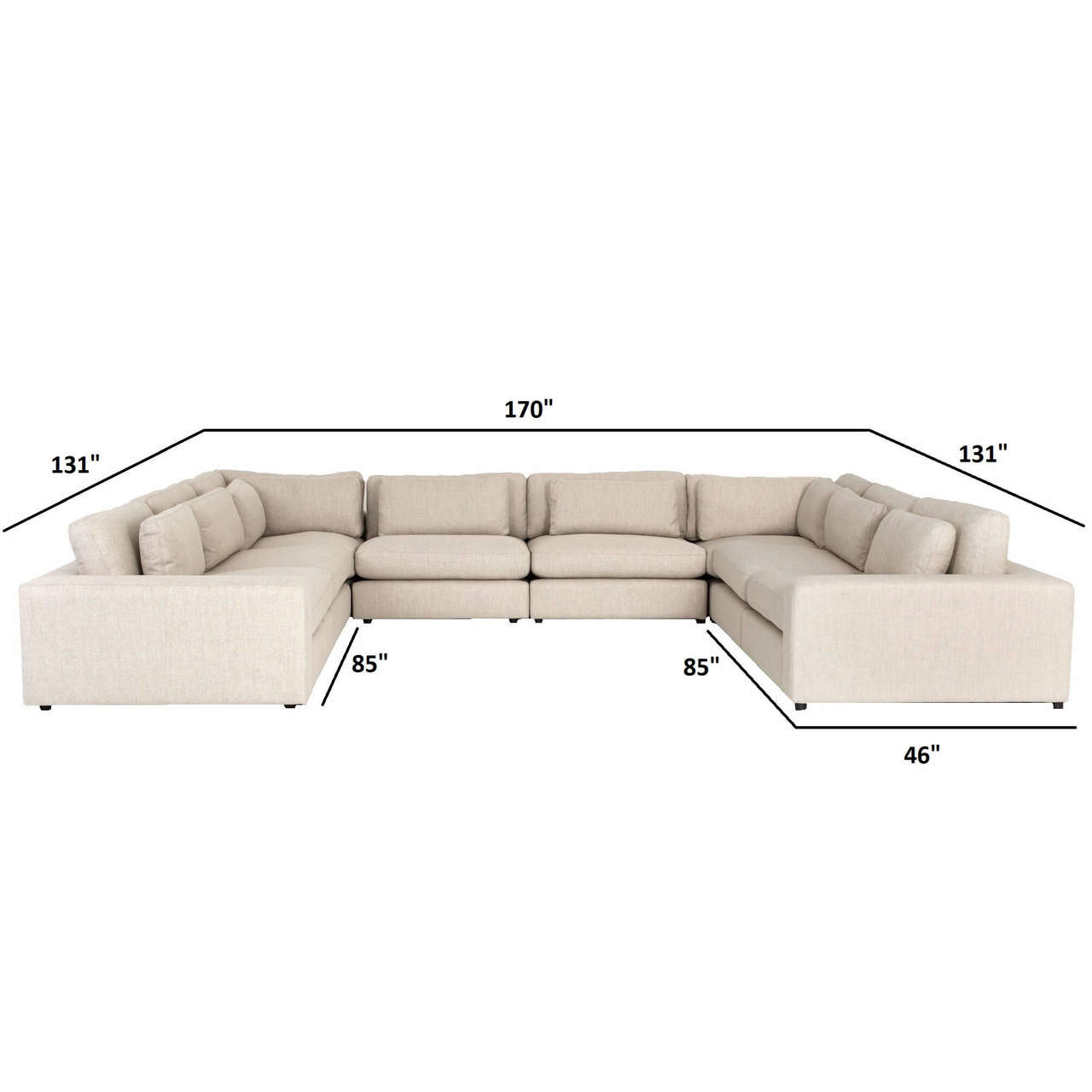 Bloor Contemporary Beige Linen 8 Piece U Shaped Sectional Sofa