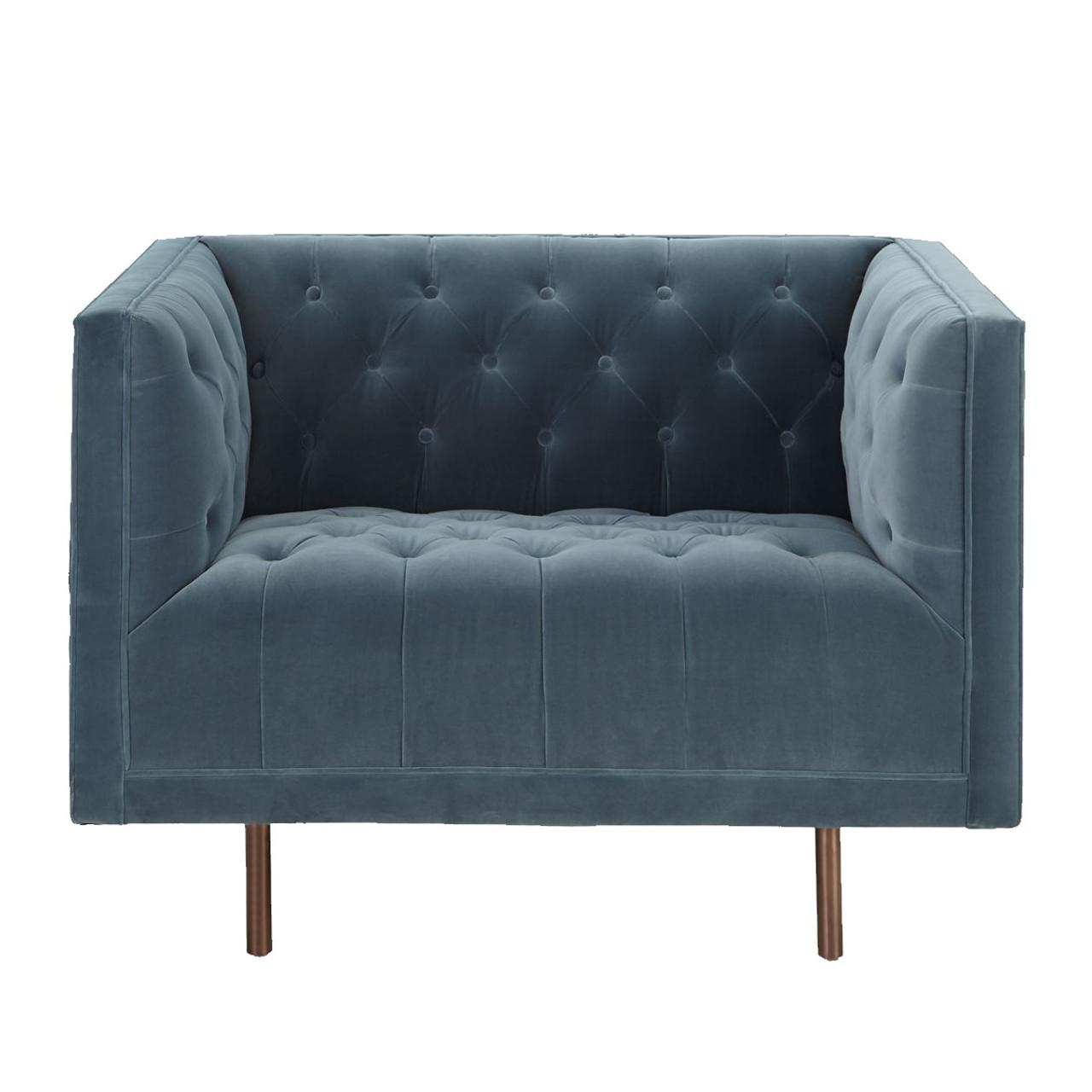 Lynette Blue Velvet Tufted Lounge Chair Zin Home