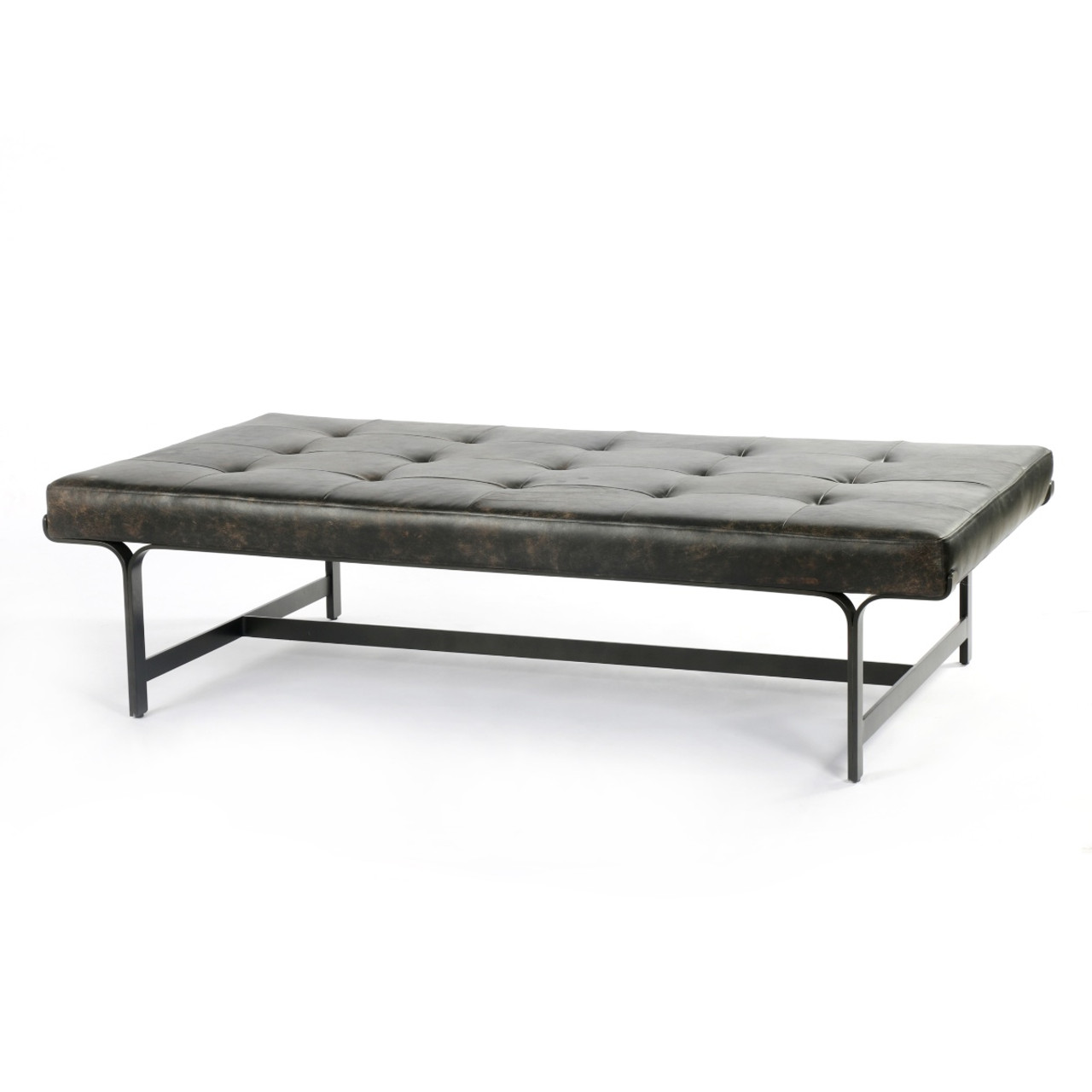 lindy tufted black leather ottoman coffee table 63
