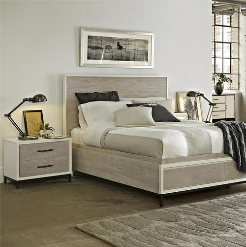modern gray platform storage bedroom set king