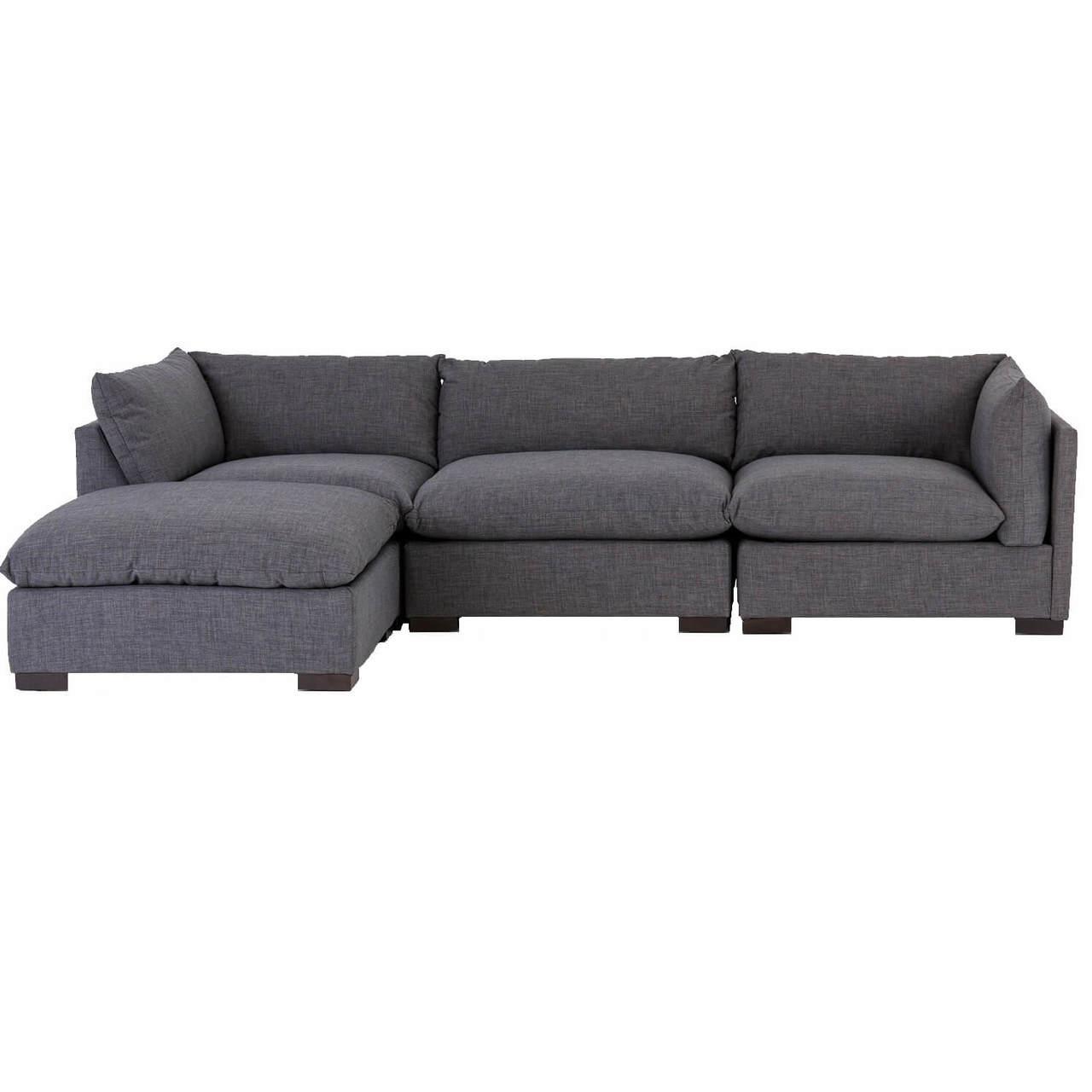 westworld modern gray 4 piece modular lounge sectional sofa
