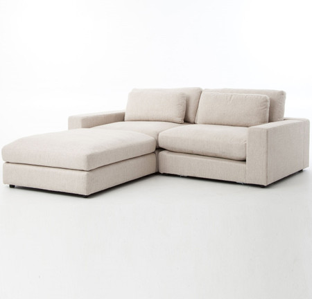 bloor beige contemporary 3 piece small sectional sofa