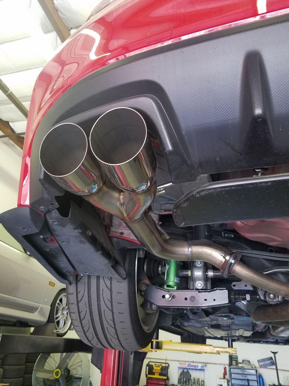 blox racing exhaust muffler delete single wall stainless quad tips subaru wrx sti 2015 2018