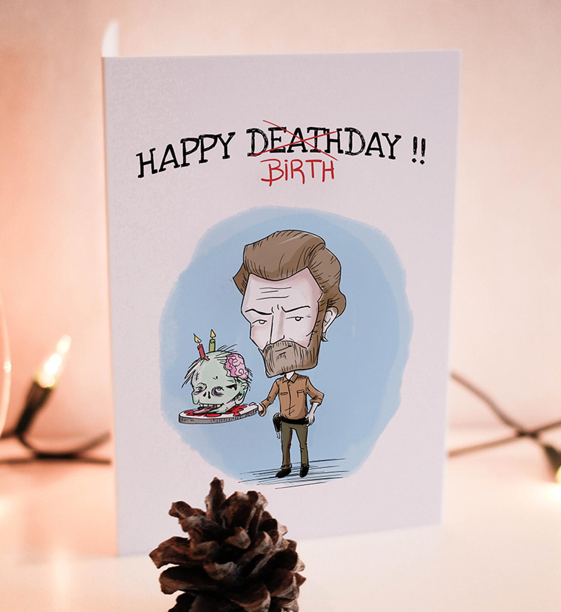 Birthday Card Printable Card Rick Walking Dead Zombie Wadadesigns