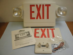 lithonia lighting lhqm s w 1r emergency white red exit sign light 120 277 2 face