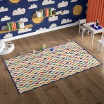 Deerlux Modern Kids Living Room Area Rug With Nonslip Backing Multicolor Dotty Waves Pattern Quickway Imports Inc