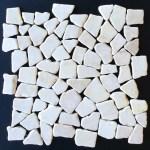 Tumbled Marble Mosaic Kuta White 12x12 Seamless Interlocking Tiles Direct Store