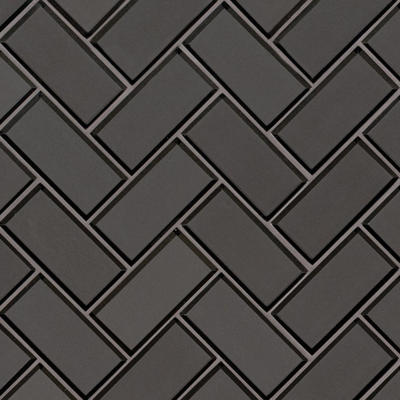 metallic gray bevel herringbone mosaic