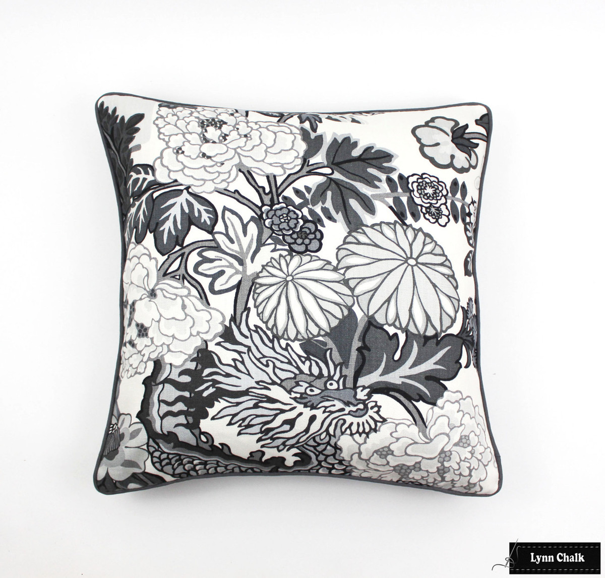 schumacher chiang mai dragon pillows in smoke with charcoal grey welting 2 pillow minimum order