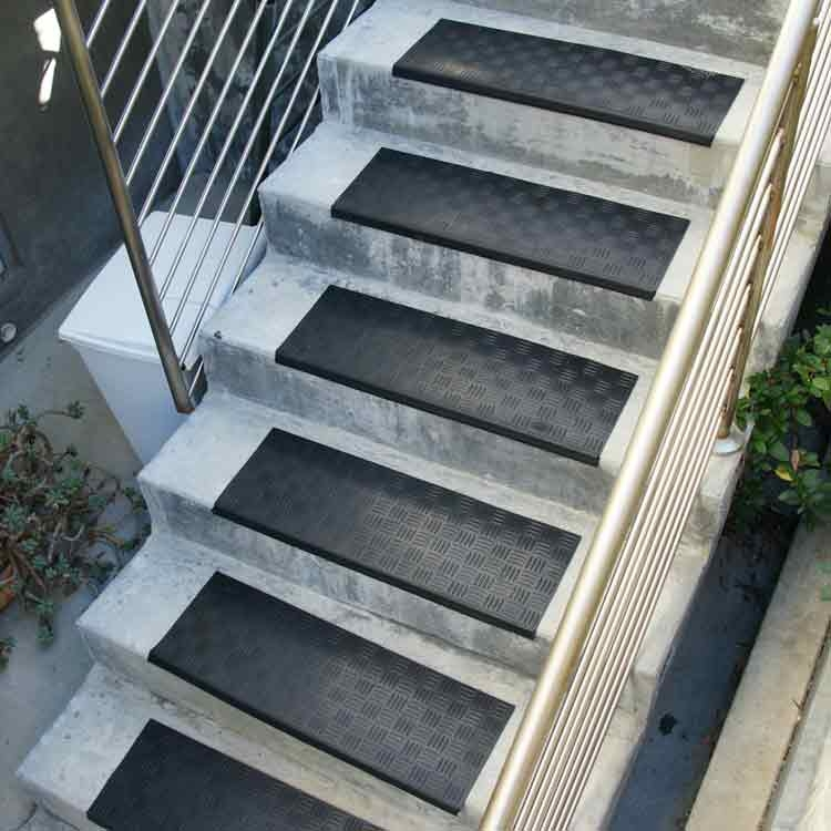 Rubber Stair Treads Provide Safety And Protection Anywhere   Exterior Rubber Stair Treads   Solid Weathered   Luxury Vinyl Stair   14 Inch Deep   Vinyl Covered   Pattern