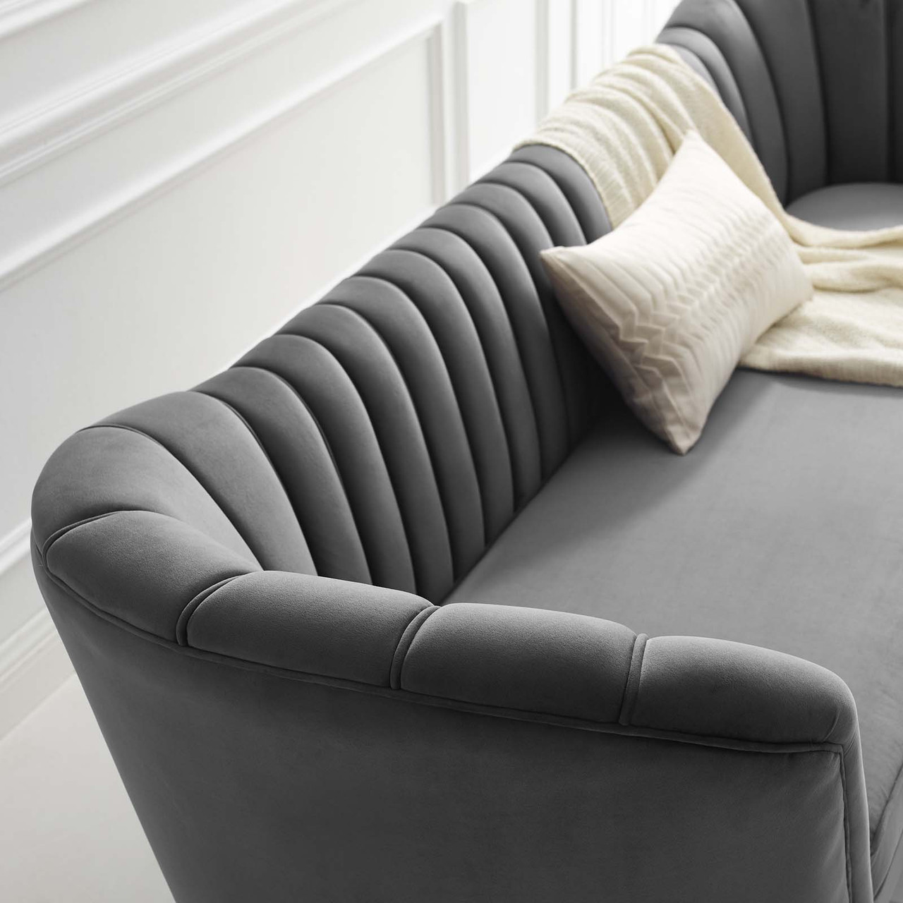 Opportunity Vertical Channel Tufted Curved Performance Velvet Sofa Gray Eei 3453 Gry Furniture East Inc