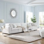Commix Down Filled Overstuffed 4 Piece Sectional Sofa Set White Eei 3357 Whi Furniture East Inc