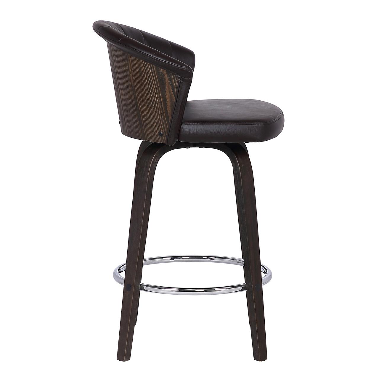 Ashley Wood Back 30 Swivel Brown Faux Leather Bar Stool Furniture East Inc