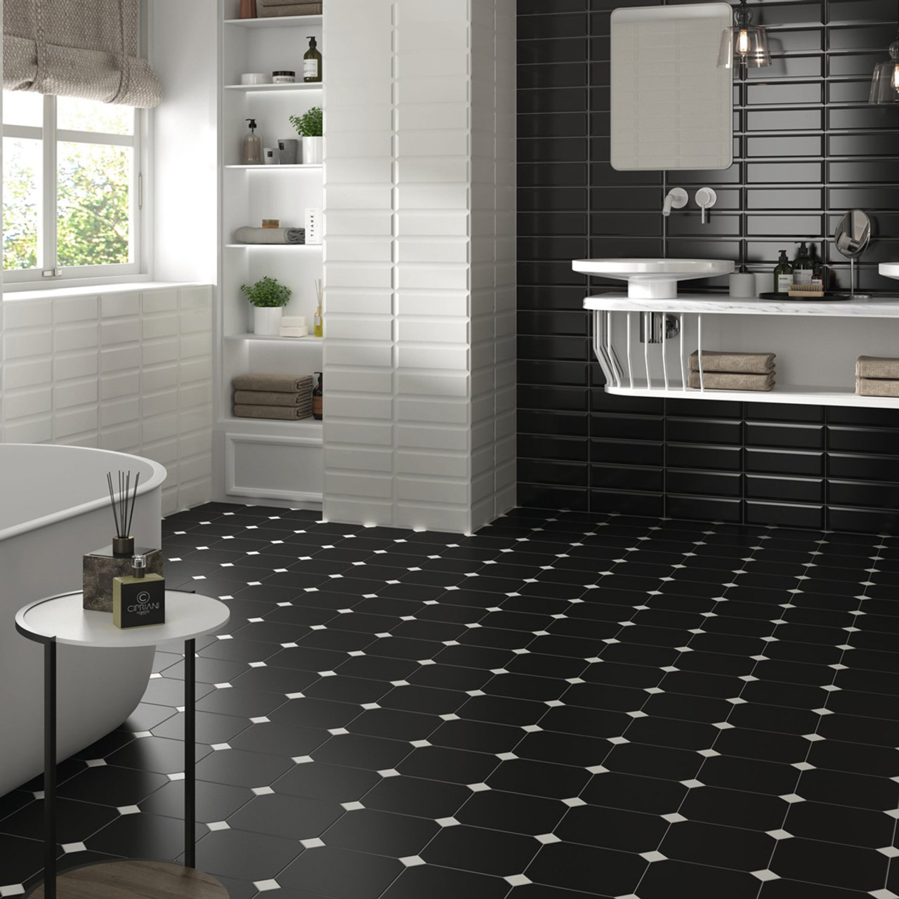 https www tile clearance co uk eight collection black 20cm x 20cm octagonal tiles and white 3 8cm x 3 8cm taco 58 sqm