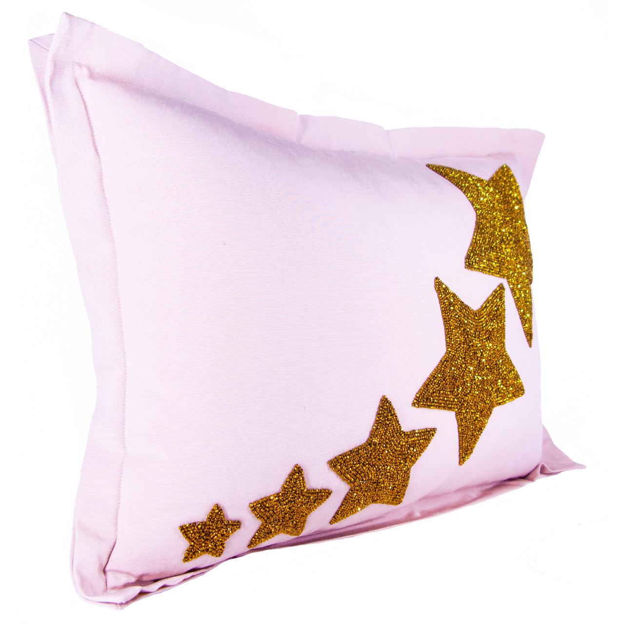 gold star hand beaded lumbar pillow