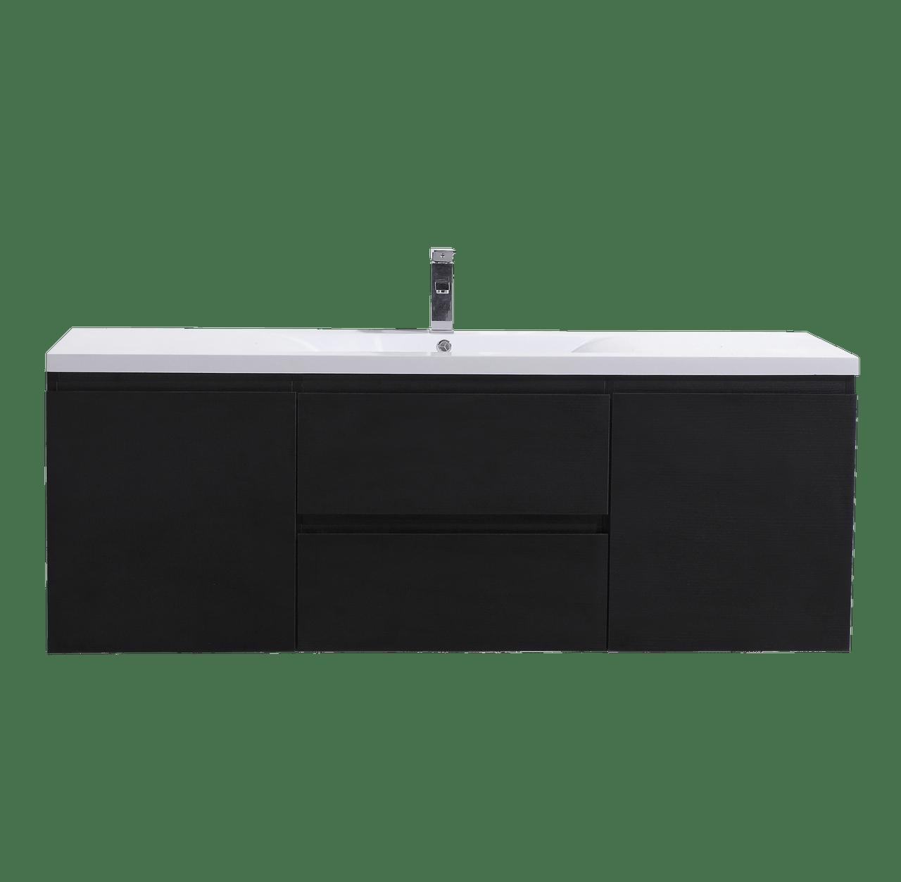 Moreno Mob 60 Single Sink Black Wall Mounted Modern Bathroom Vanity With Reeinforced Acrylic Sink Bathroom Vanities Wholesale Inc