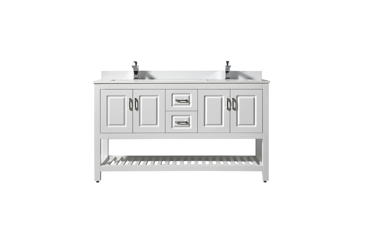 louis 7060 double sink white bathroom vanity with quartz marble top