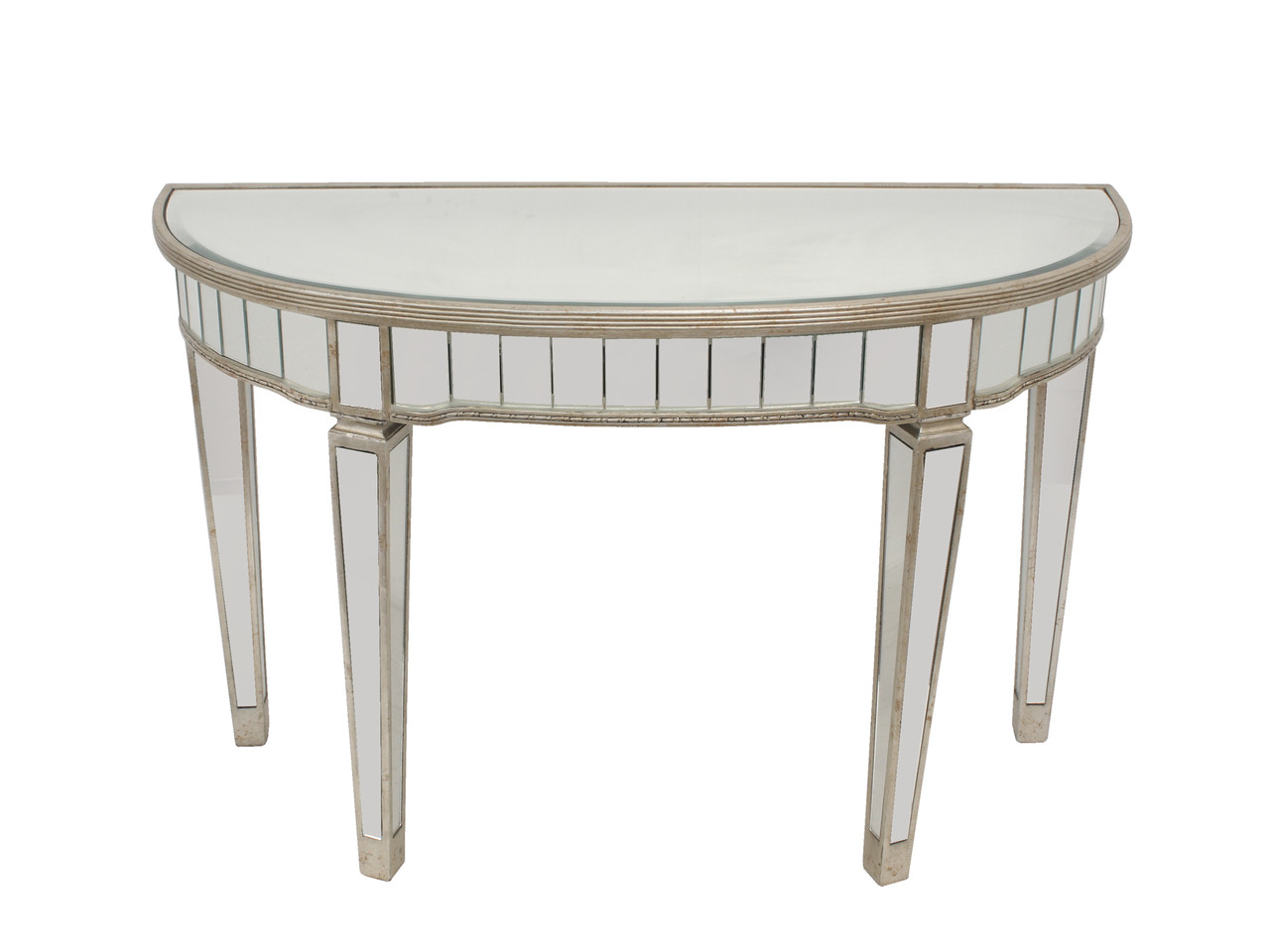 mirrored half circle console table