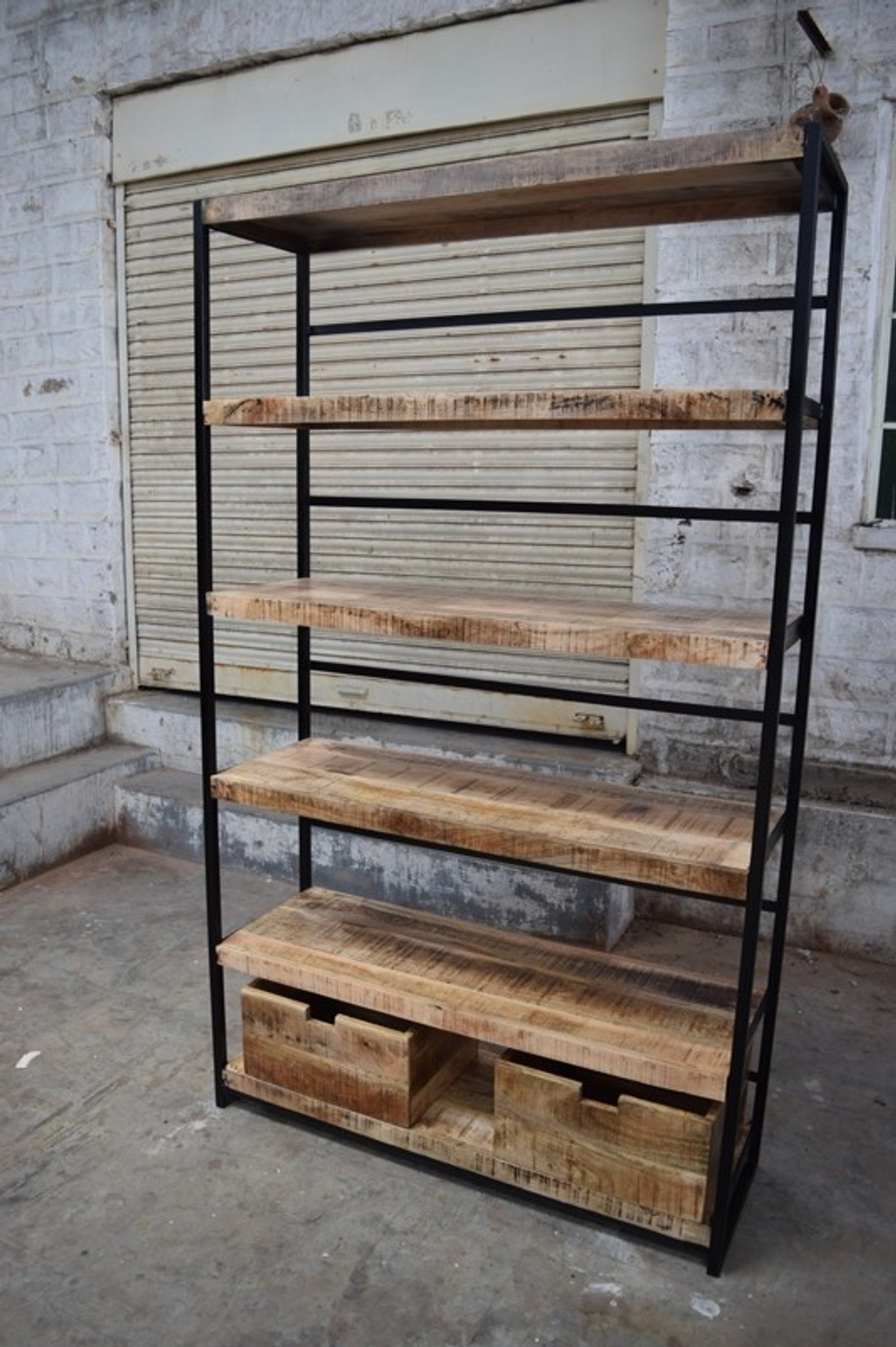 Iron And Reclaimed Wood Bookcase Display Shelf