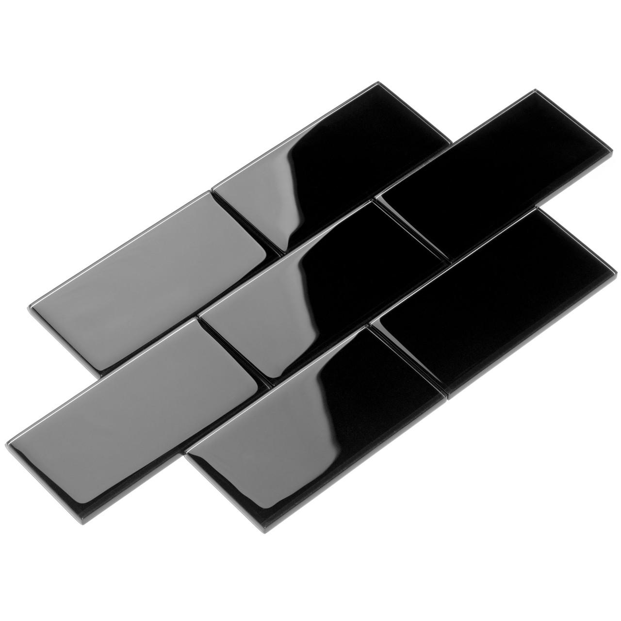 giorbello glass subway tile 3 x 6 black