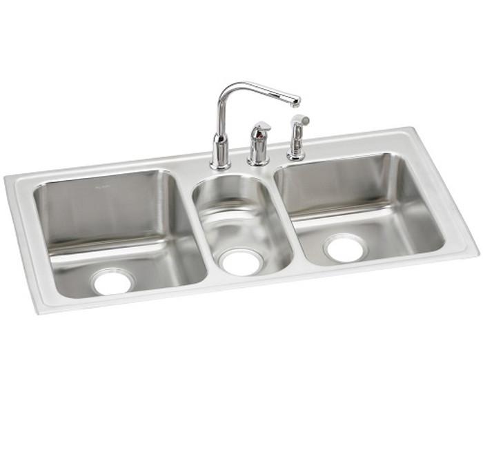 stainless steel triple bowl drop in sink