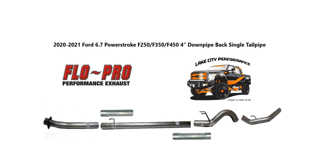 2020 2021 6 7l f250 f350 f450 f550 flo pro 4 aluminized downpipe back exhaust system no muffler