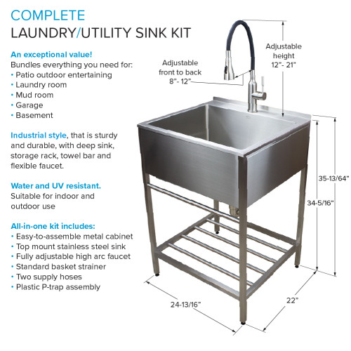 transolid tfh 2522 ss 25 in stainless steel laundry sink with wash stand in brushed satin