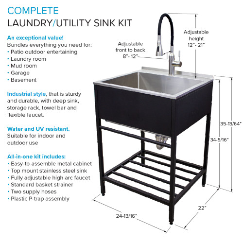 transolid tfh 2522 mb 25 in stainless steel laundry sink with wash stand in matte black