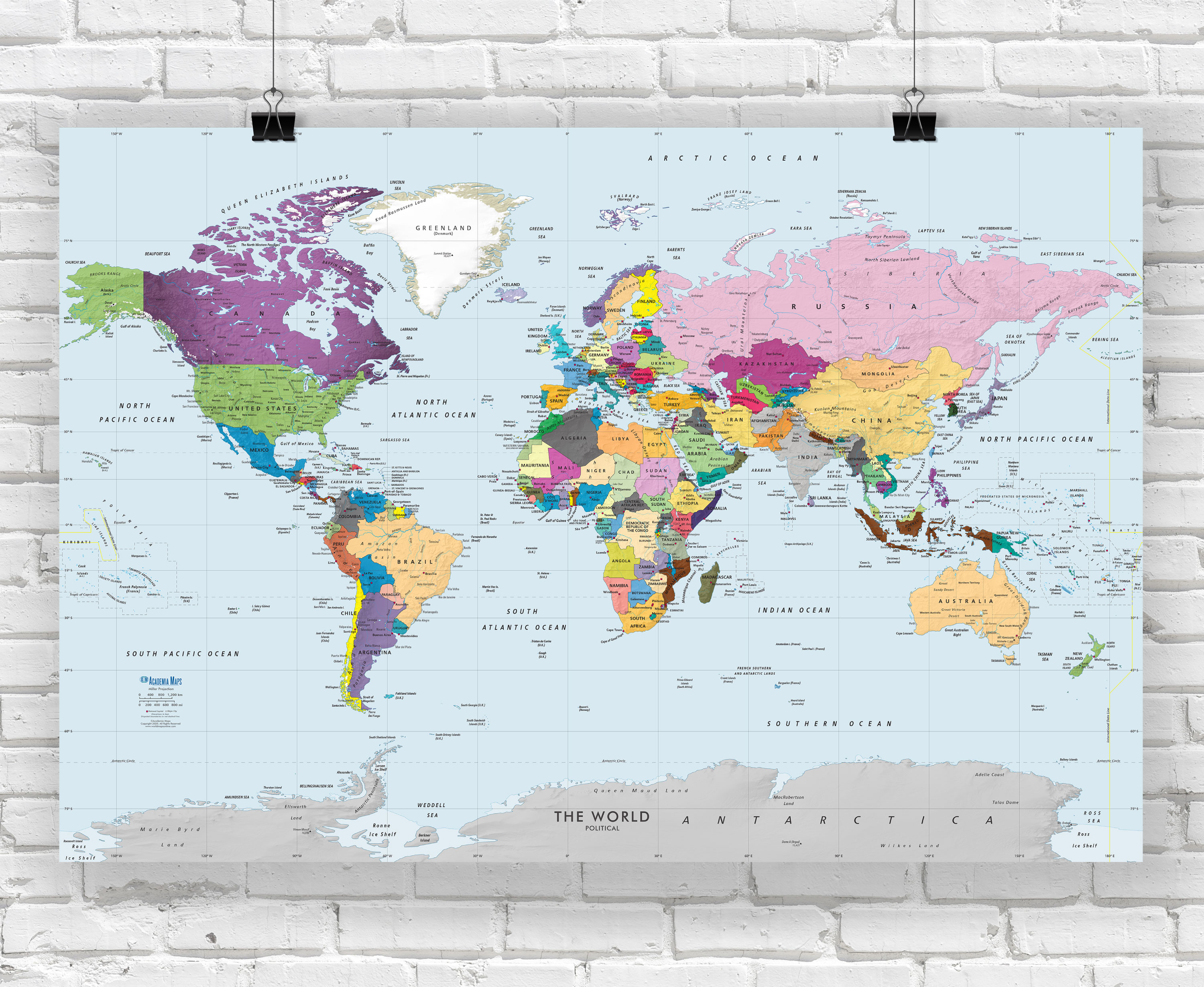 world map poster colorful world simple labeling