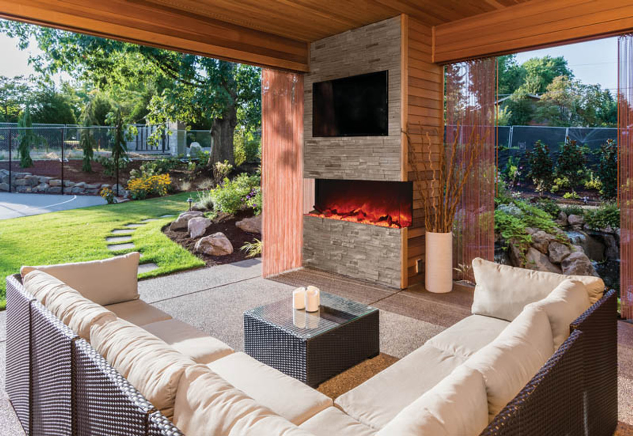 amantii tru view 60 3 sided indoor outdoor electric fireplace