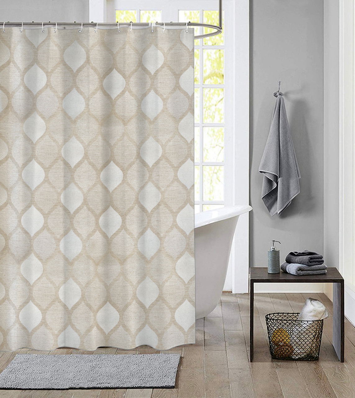 extra long shower curtain 72 x 78 inch dutch house polyester fabric brest beige
