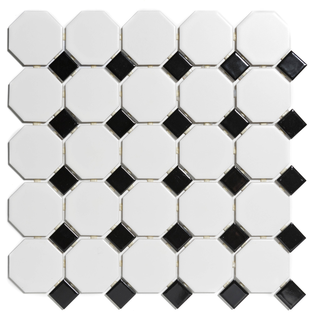 https www presentusa com glazed porcelain mosaic tile sheet paris octagon matte and glossy white and black box 94 sq ft